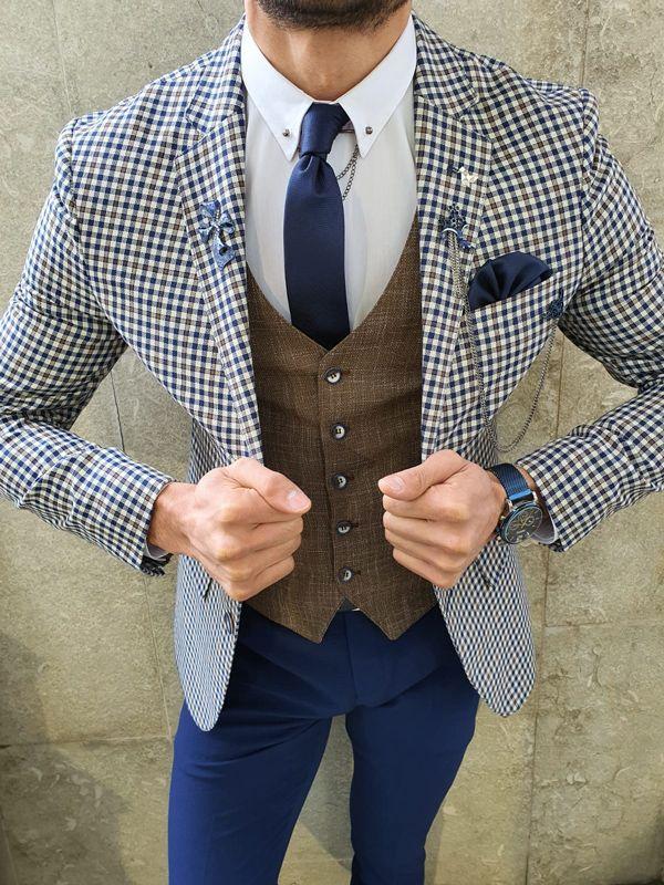 Aysoti Grove Navy Blue Slim Fit Birds Eye Suit