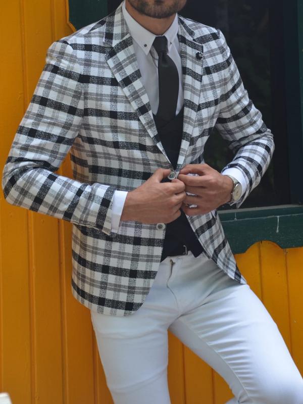 Aysoti New Gentleman Gray Slim Fit Plaid Suit