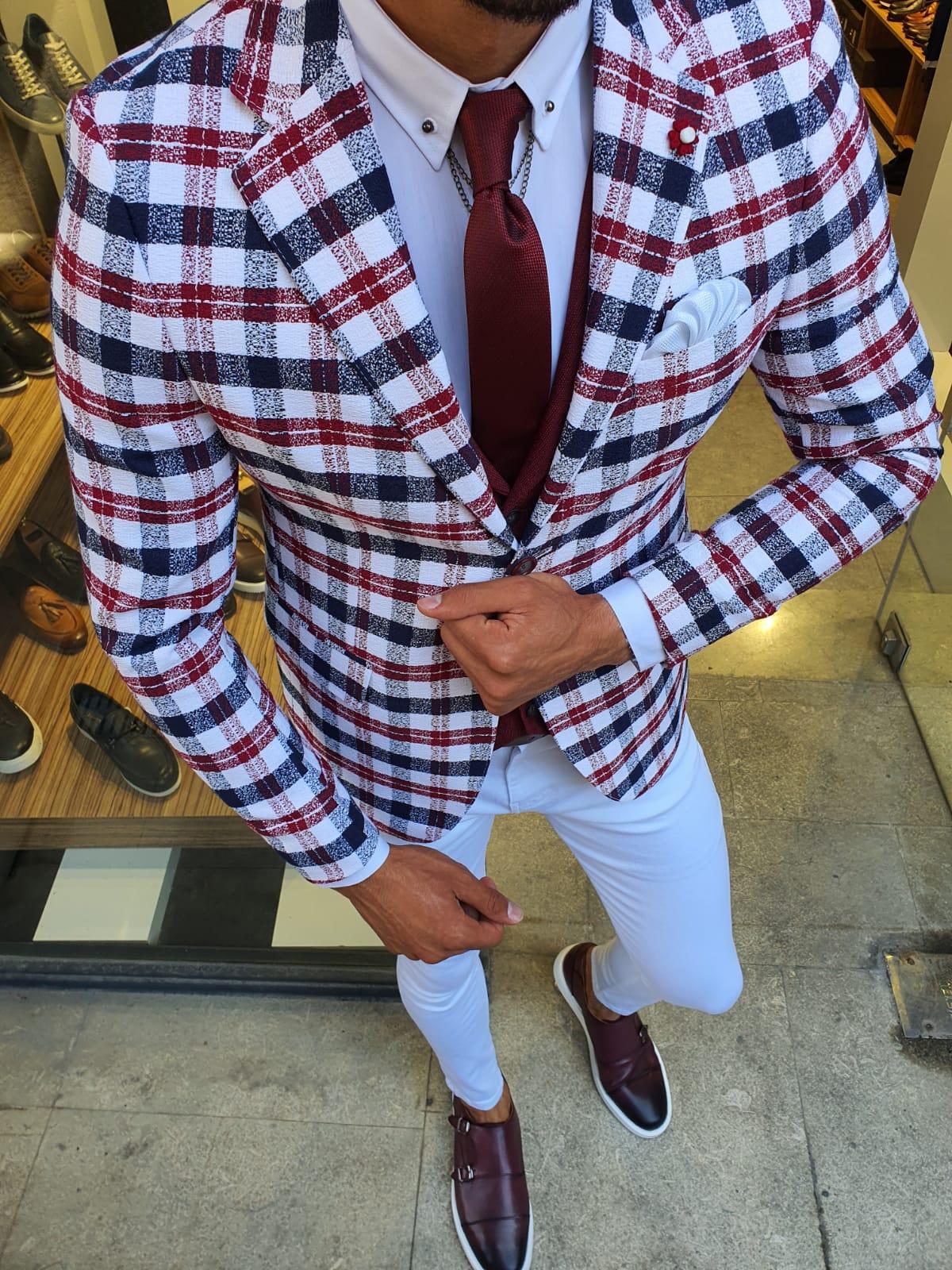 Aysoti New Gentleman Red Slim Fit Plaid Suit