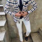 Aysoti Varada White Slim Fit Plaid Suit