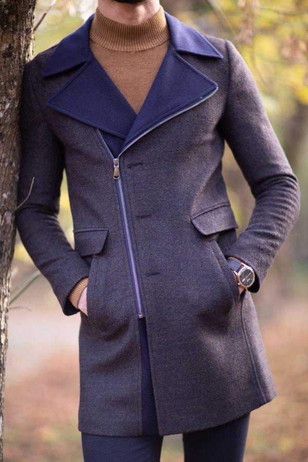 Aysoti Twink Navy Blue Zipper Wool Coat