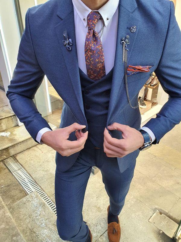 Aysoti Oland Indigo Slim Fit Patterned Suit