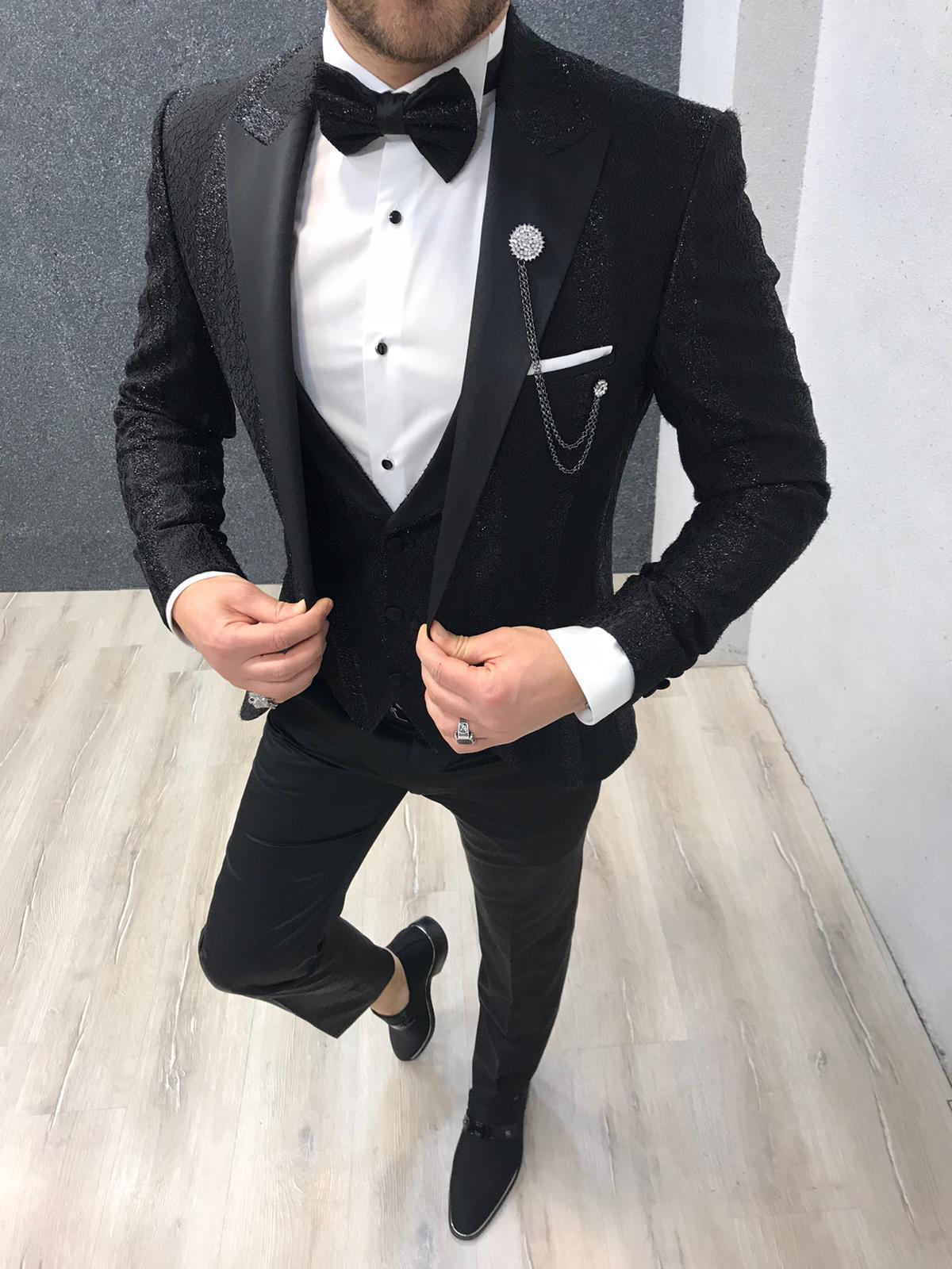 Aysoti Trikania Black Slim Fit Tuxedo