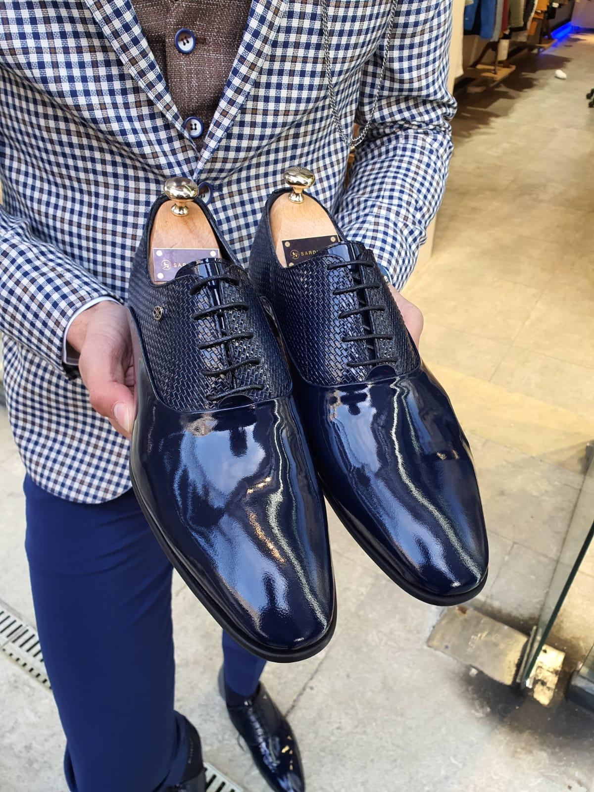 Aysoti Marav Navy Blue Laced Oxford