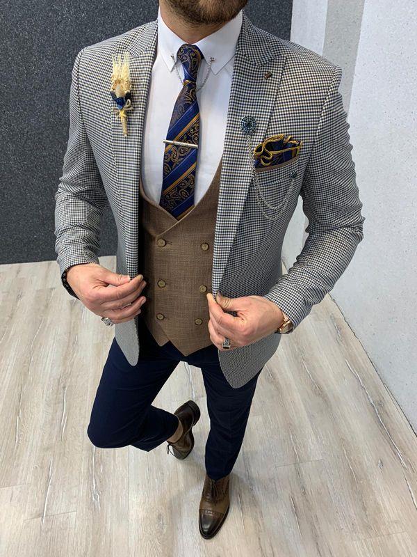 Aysoti Kaunas Blue Slim Fit Suit
