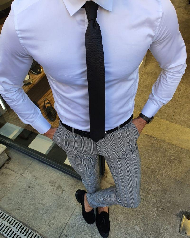 Aysoti White Slim Fit Cotton Shirt