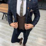 Aysoti Dark Blue Slim Fit Plaid Suit