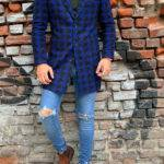 Hugh Blue Slim Fit Patterned Wool Long Coat