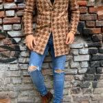 Hugh Brown Slim Fit Patterned Wool Long Coat