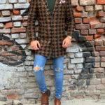 Hugh Coffee Slim Fit Patterned Wool Long Coat