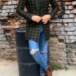 Hugh Green Slim Fit Patterned Wool Long Coat