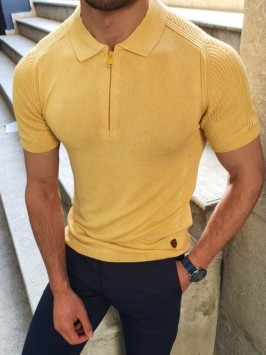 Aysoti Yellow Slim Fit Collar Stripe Neck Zipper Knitwear T-Shirt