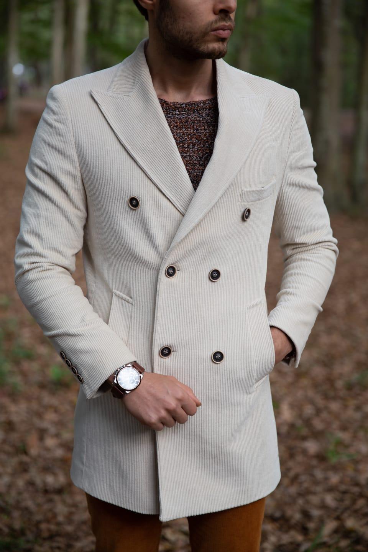 Evora Slim-Fit Cotton Double breasted coat ecru