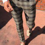 Classic Camel Slim Fit Plaid Pants