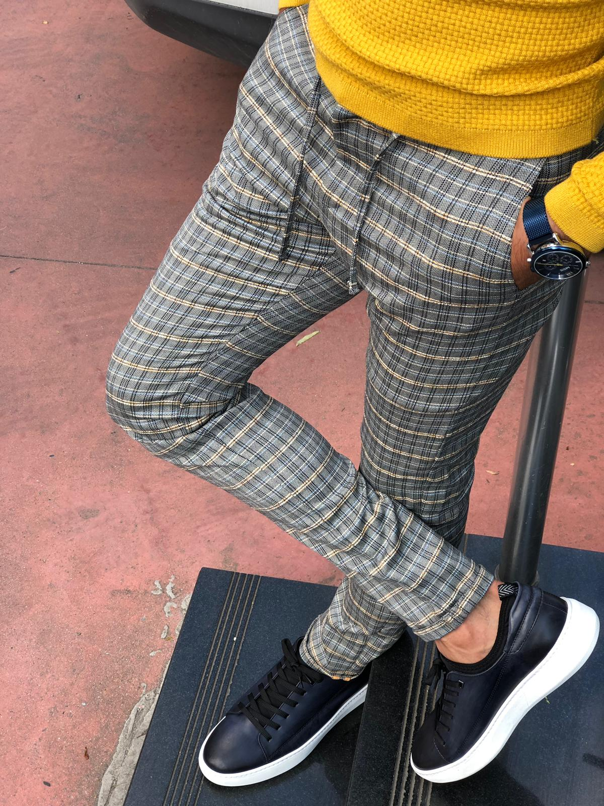 Evia Grey Slim Fit Plaid Pants