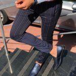 Evia Dark Blue Slim Fit Striped Pants