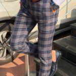Evia Navy Blue Slim Fit Plaid Pants