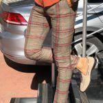 Evia Beige Slim Fit Plaid Pants