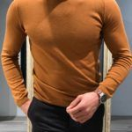 Slim-Fit turtleneck knitwear Camel