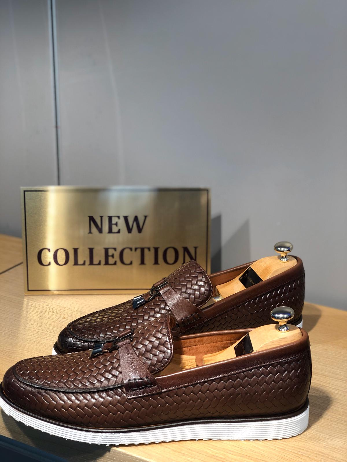 Sardinelli Brown Knitted Leather Shoes