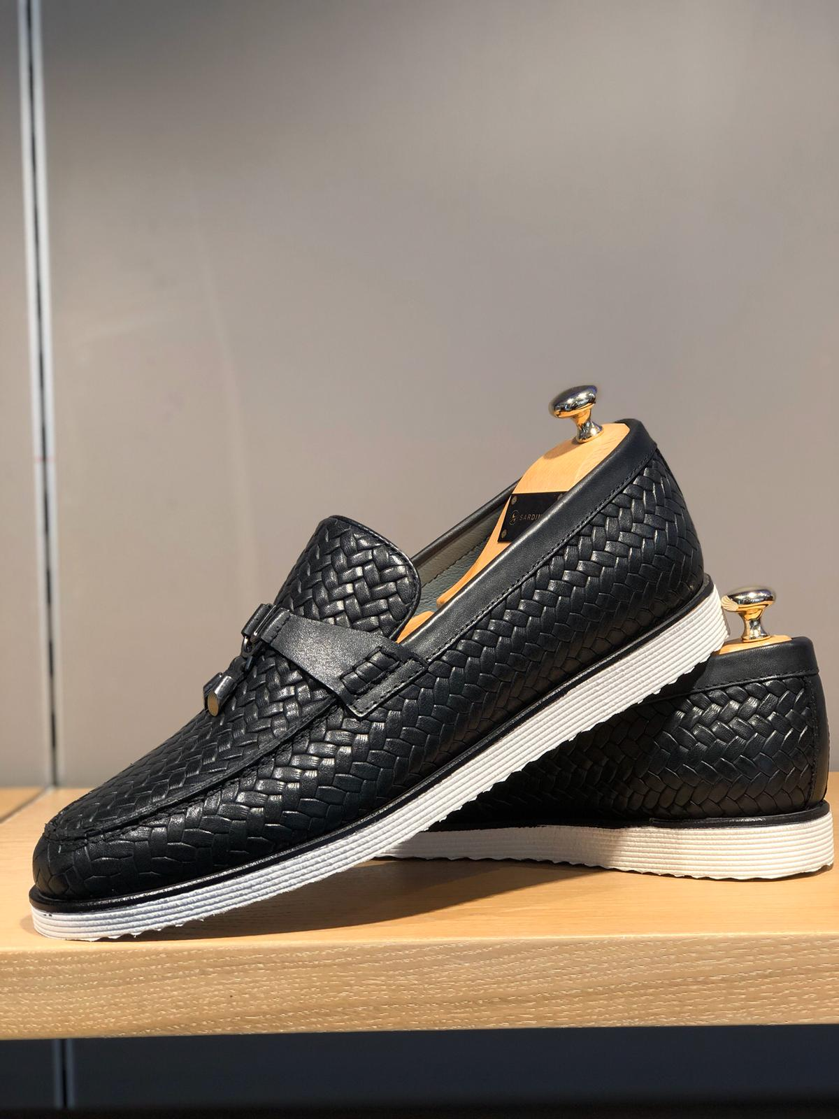 Sardinelli Black Knitted Leather Shoes