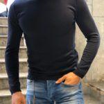 Slim-Fit turtleneck knitwear dark blue