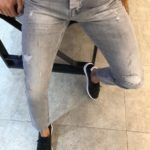 Evia Super Gray Slim Fit Ripped Jeans