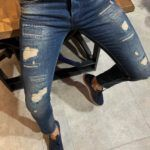 Evia Super Slim-fit jeans ripped navyblue