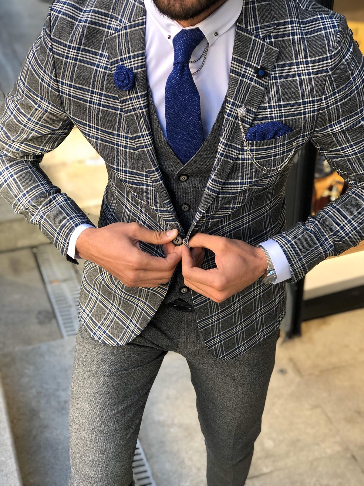 Olympia Sax Slim Fit plaid Suit Vest