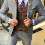 Olympia Camel Slim Fit Plaid Suit Vest