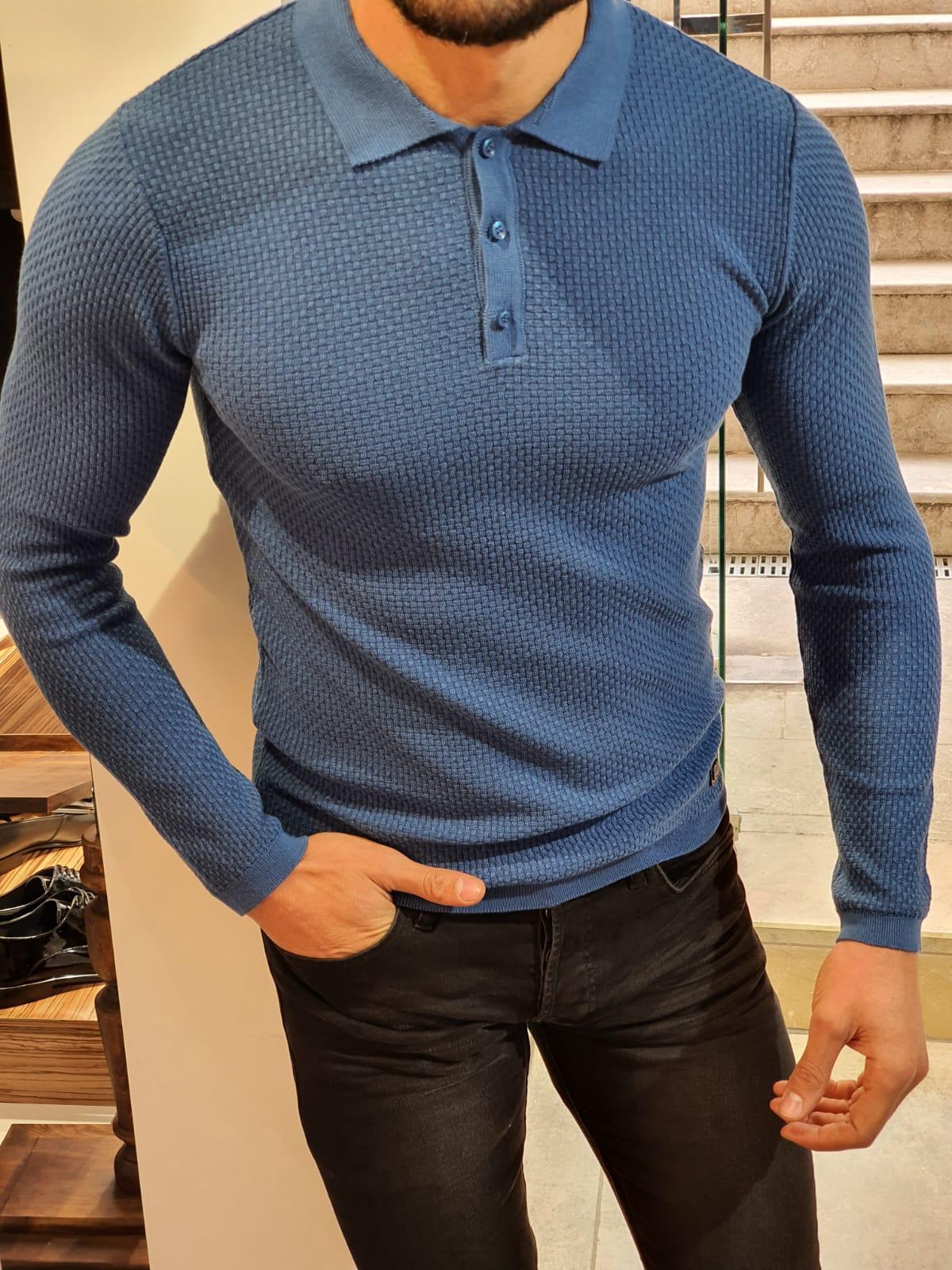 Slim-Fit polo collar knitwear sweater Indigo