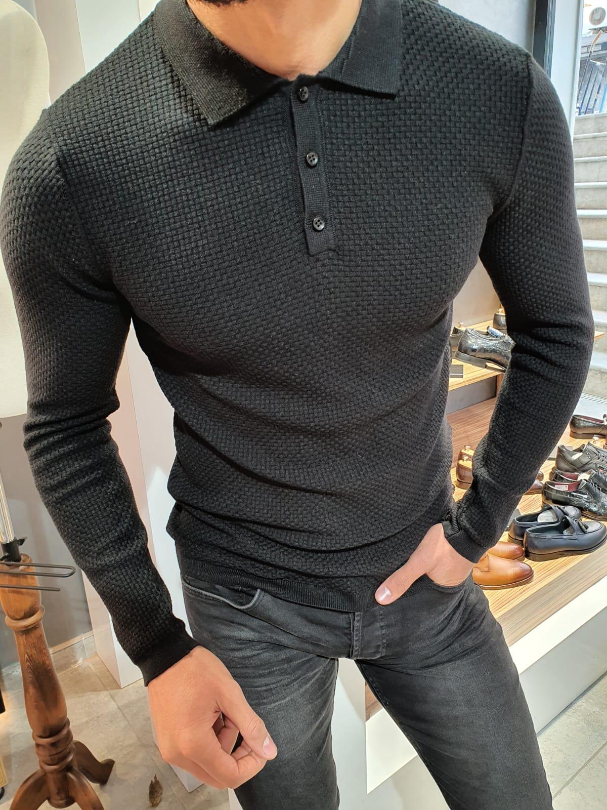 Slim-Fit polo collar knitwear sweater black