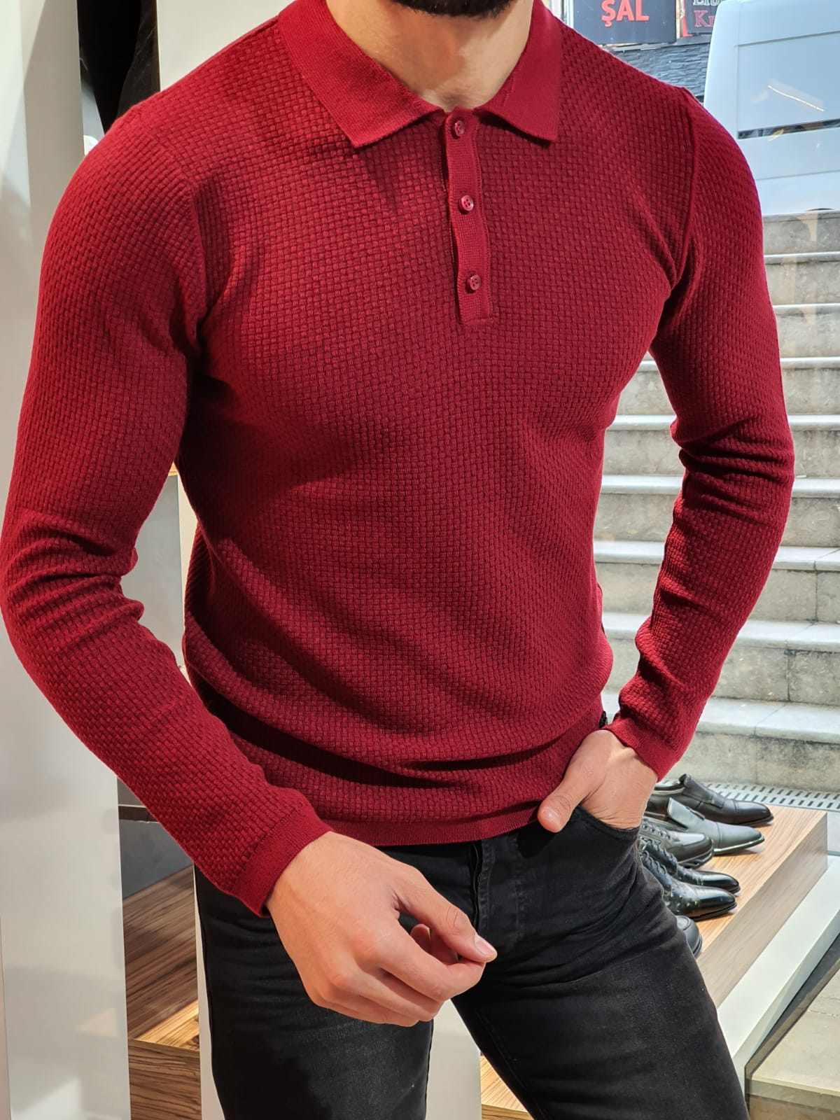 Slim-Fit polo collar knitwear sweater Claret-red