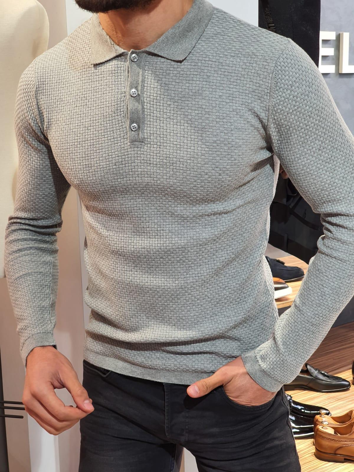 Slim-Fit polo collar knitwear sweater Gray