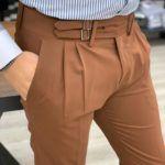 Aysoti Brown Pleated Slim Fit Canvas Pants