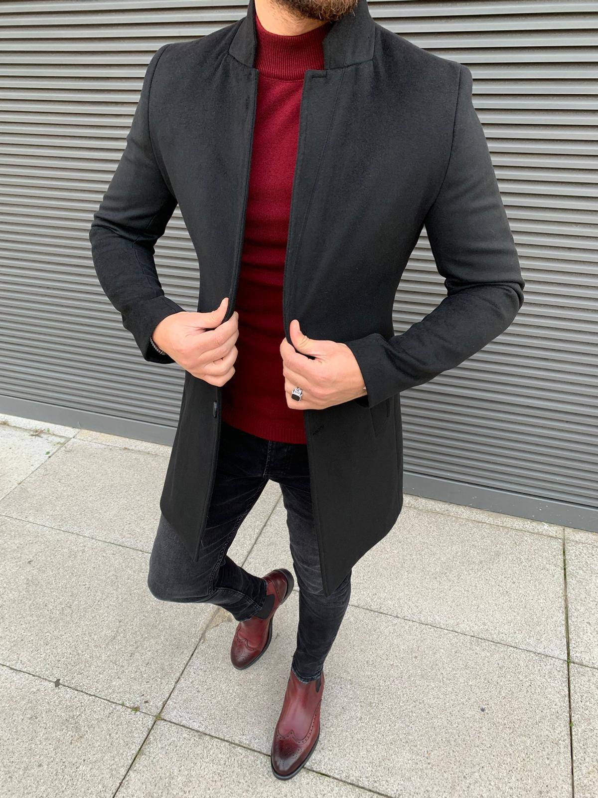 Austin Black Slim Fit Coat