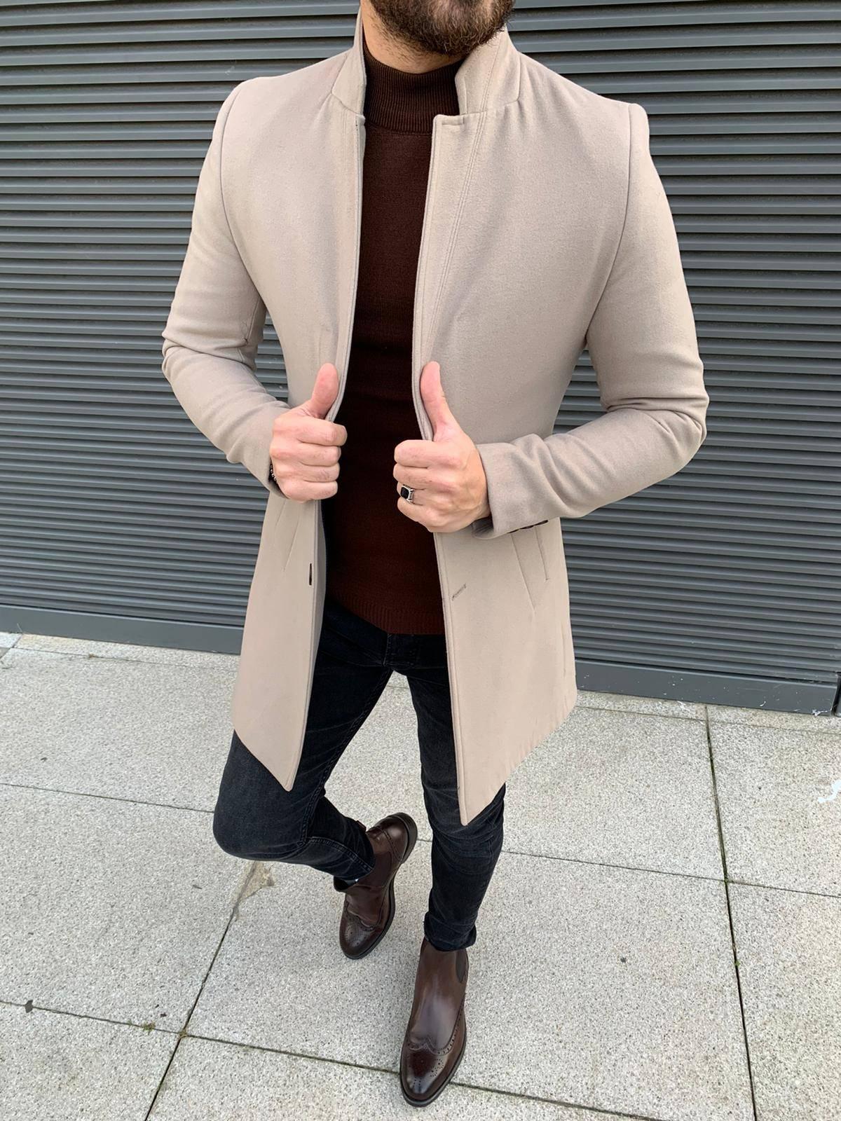 Austin Beige Slim Fit Coat