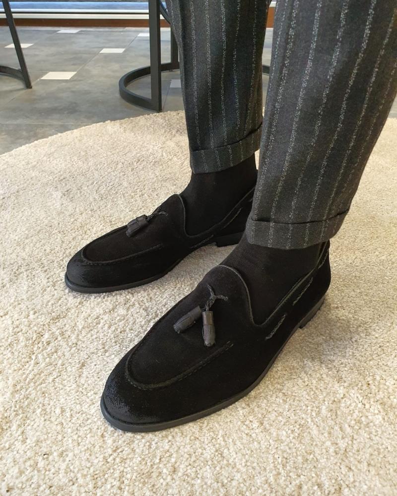 Aysoti Anchorage Black Suede Tassel Loafers