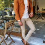 Aysoti Anchorage Camel Slim Fit Blazer