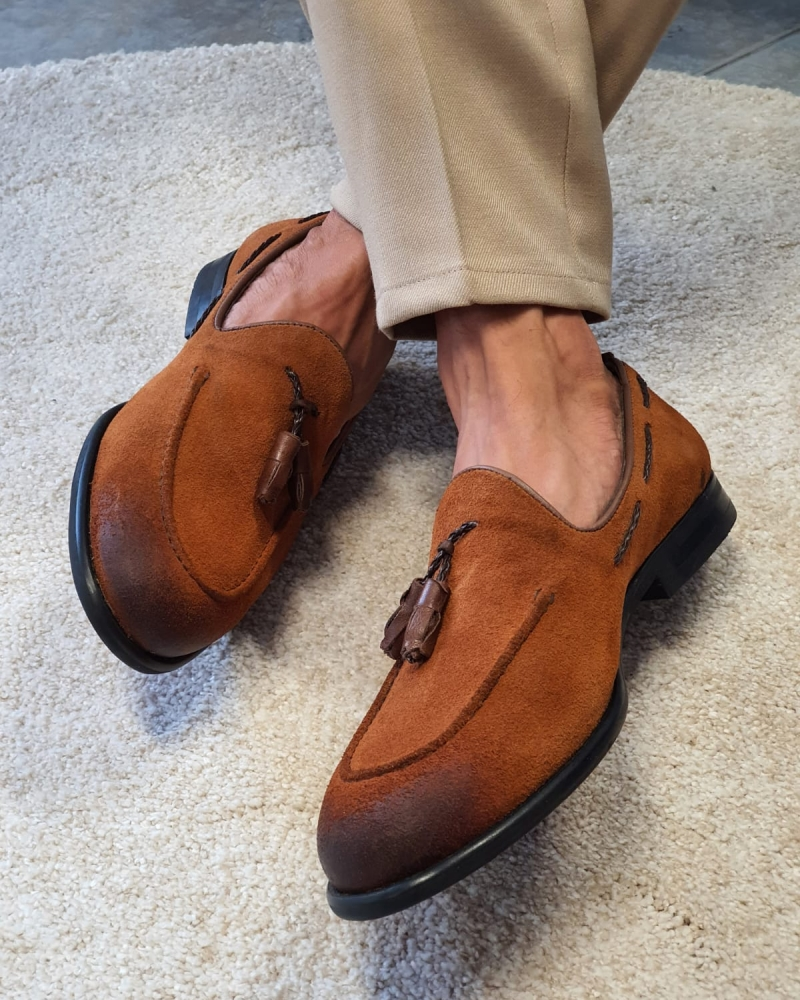 Aysoti Anchorage Tan Suede Tassel Loafers