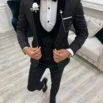Black Slim Fit Velvet Shawl Lapel Tuxedo