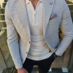Aysoti Beige Slim Fit Pinstripe Blazer
