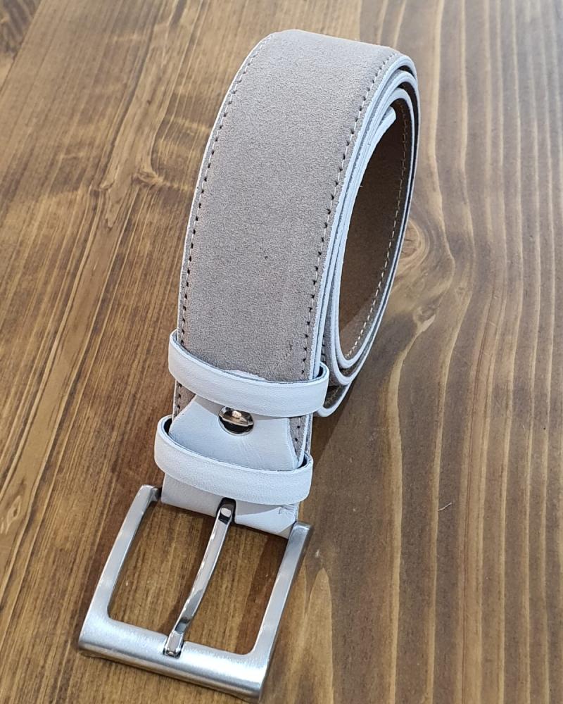 Aysoti Beige Suede Leather Belt