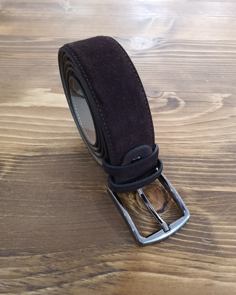 Aysoti Brown Suede Leather Belt