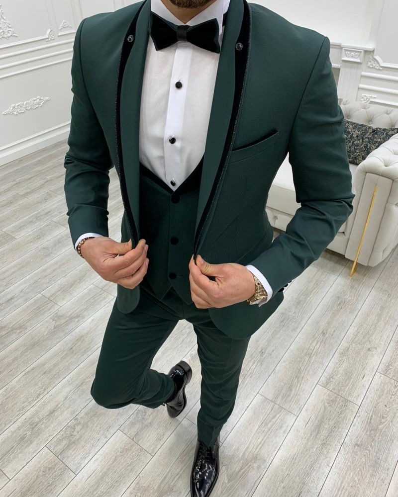 Aysoti Cardinal Green Slim Fit Shawl Lapel Tuxedo