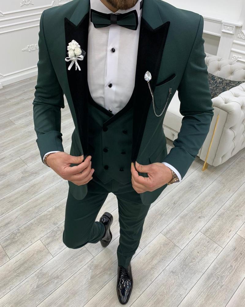 Aysoti Cardinal Green Slim Fit Velvet Peak Lapel Tuxedo