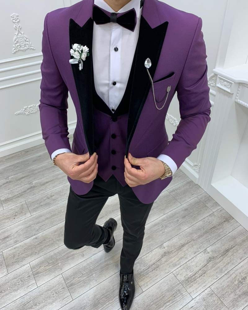 Aysoti Cardinal Purple Slim Fit Velvet Peak Lapel Tuxedo
