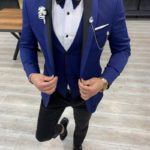 Aysoti Clyde Blue Slim Fit Shawl Lapel Tuxedo