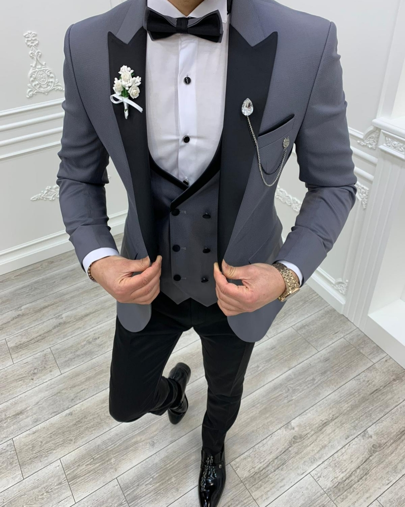 Aysoti Clyde Gray Slim Fit Peak Lapel Tuxedo