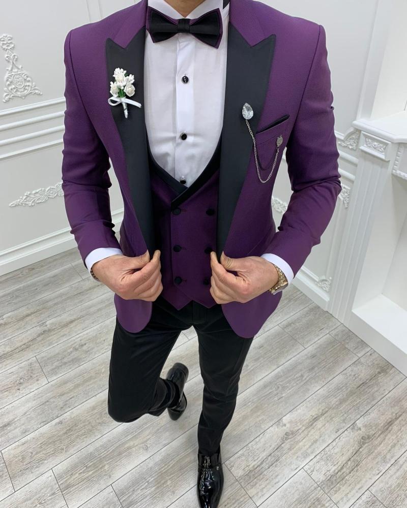 Aysoti Clyde Purple Slim Fit Peak Lapel Tuxedo